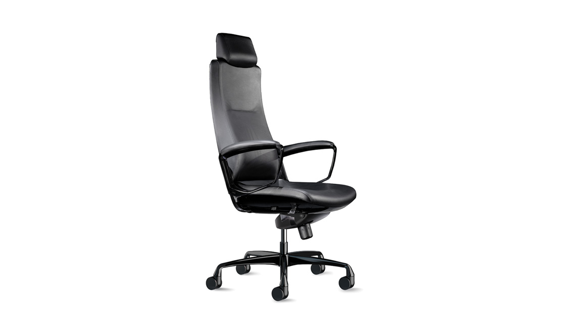 Black leather Liven office chair.