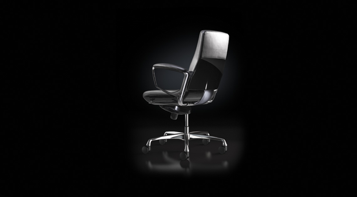 Low back of Liven office chair in black leather. Half back in glossy finish.