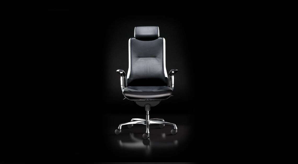 Front of Liven office chair in black leather.