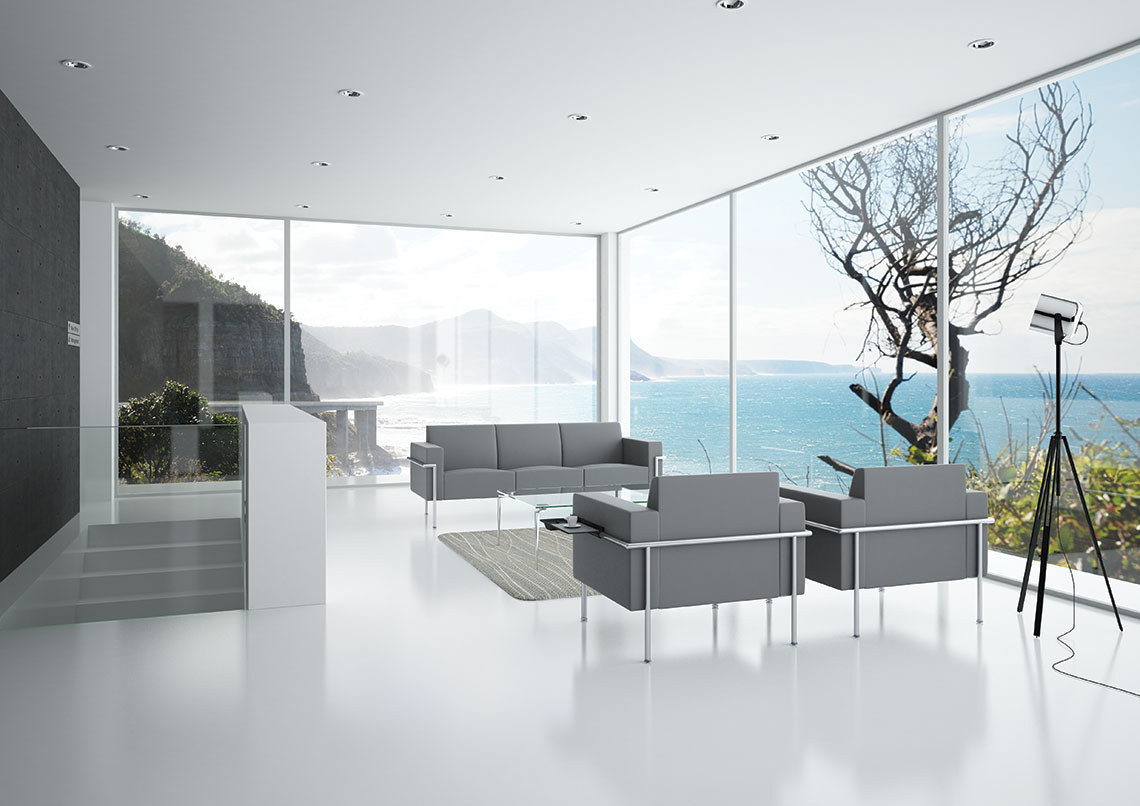 virtu grey leather sofa in contemporary space