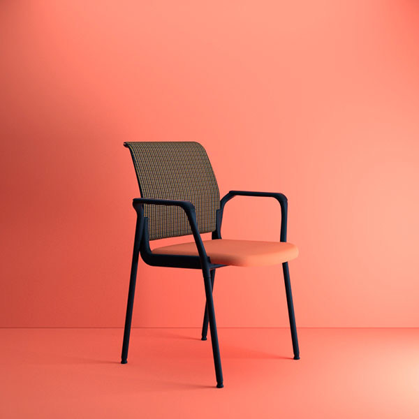 girsair stackable chair in coral pink setting