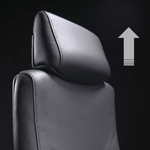 Close-up of the headrest of a Liven leather office chair.