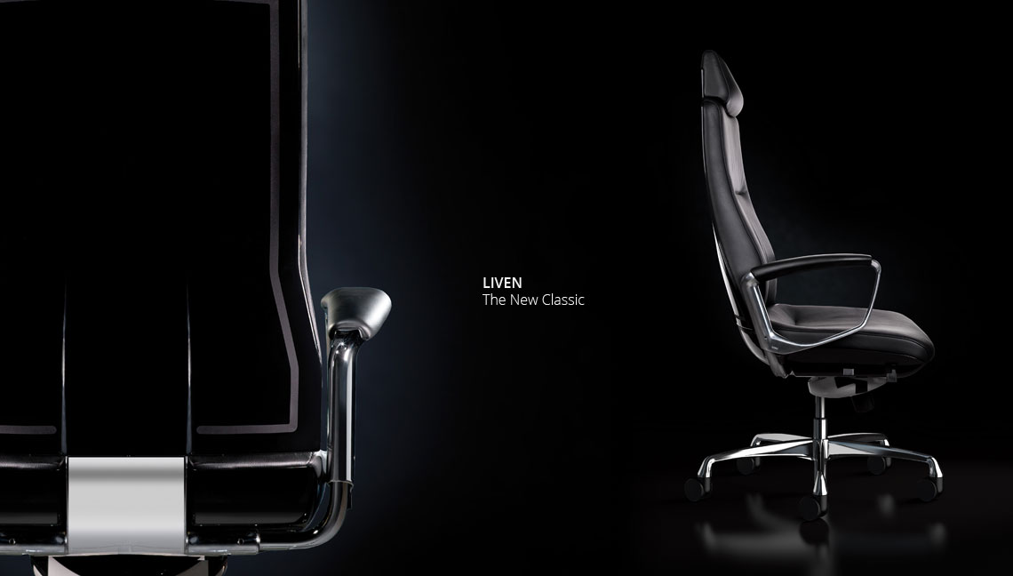 Liven executive leather office chair in closeup and side view