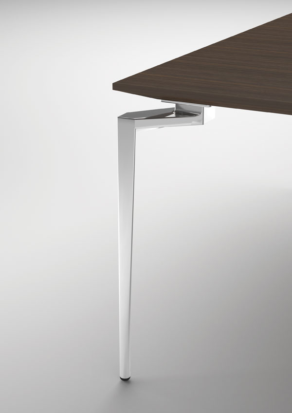 Close-up diecast aluminium leg of Loft table.